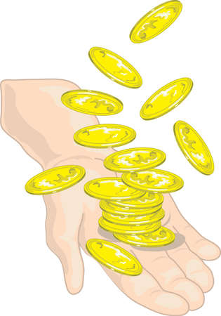 Illustration of a hand throwing gold coins in the air