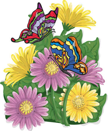 Illustration of carnation flowers and butterflies Фото со стока