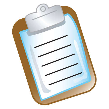 Stylized icon of a clipboard and paper (File 3 of 20 in this series) Stock Photo