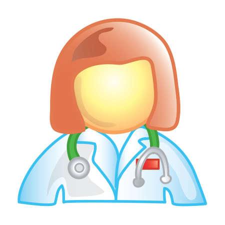 女性医師 (このシリーズでは 20 のファイル 6) の様式化されたアイコン