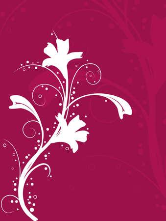 Illustration of a white ornate flower on a burgundy background. Stock Illustration - 2461466