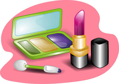 Illustrations of different beauty products including, eyeshadow,lipstick and an applicator with mirrored case.