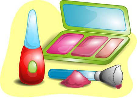 種類の美容製品を含む、粉末、マスカラー、ミラー ケース付けアプリケータのイラスト。 写真素材