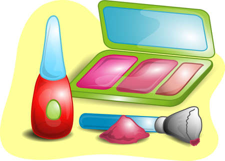 Illustrations of different beauty products including, powder,mascara, and an applicator with mirrored case.