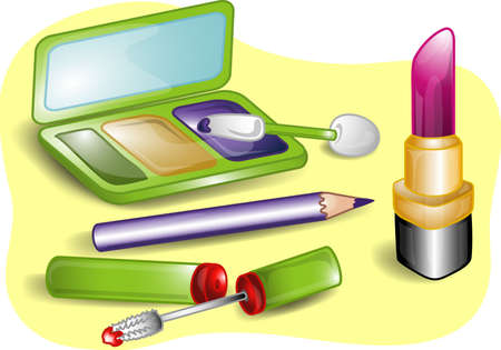 Illustrations of different beauty products including, eye shadow,eye pencil, lipstick, lip gloss, and an applicator with mirrored case.
