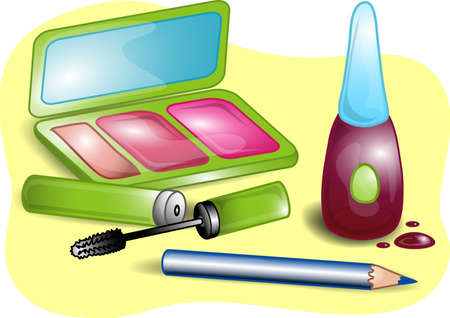 Illustrations of different beauty products including, nail polish,blush, mascara, eye pencil, and a mirrored case.