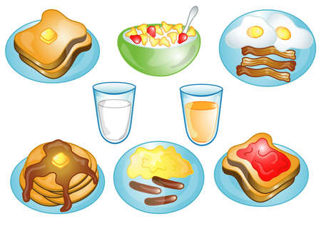 Illustrations of different breakfast foods icons, that can be used as a symbol, bullet, button or design element. Part of the food icon series. Stock Illustration - 2461523