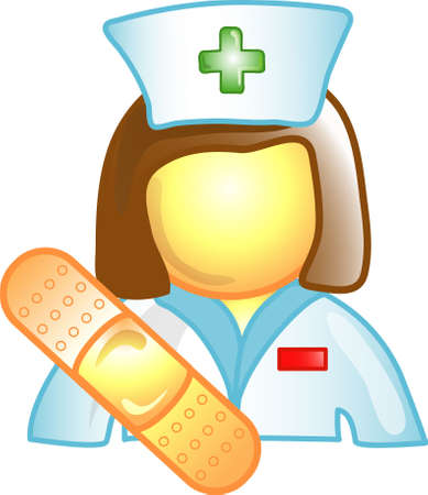 occupation: Illustration of a nurse icon, that can be used as a symbol, bullet, button or design element. Stock Photo
