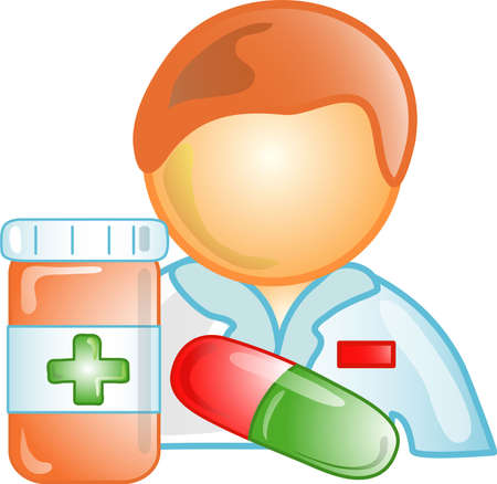 symbol: Illustration of a pharmacist icon, that can be used as a symbol, bullet, button or design element. Stock Photo