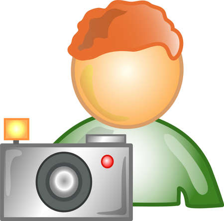 Illustration of a photographer icon, that can be used as a symbol, bullet, button or design element.