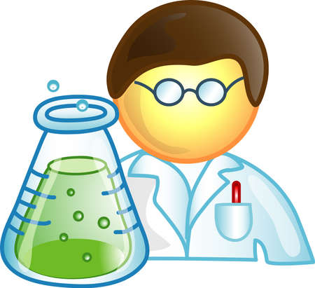 Illustration of a scientist icon, that can be used as a symbol, bullet, button or design element. Stock Photo