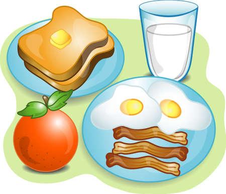 トースト、ミルク、卵、ベーコン、フルーツが揃った朝食のイラスト。