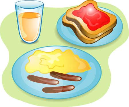 トースト、ジュース、卵、ソーセージが揃った朝食のイラスト。