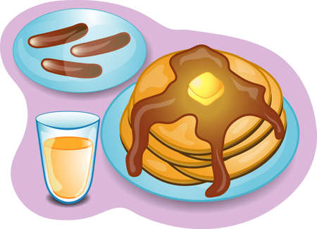 Illustration of a complete breakfast with pancakes, sausage and orange juice. Part of the complete meal series. 스톡 콘텐츠