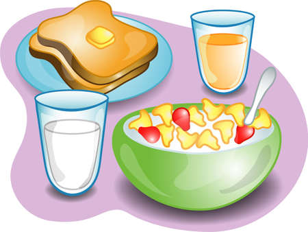 Illustratie van een compleet ontbijt met granen, melk toast en sinaasappel sap. Deel van de serie complete maal tijd.