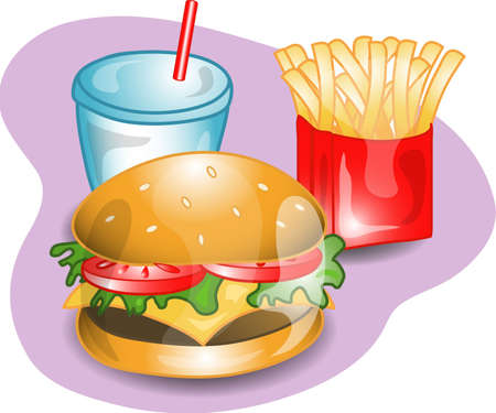 Illustration of a complete lunch with a cheeseburger, fries and a drink. Part of the complete meal series.