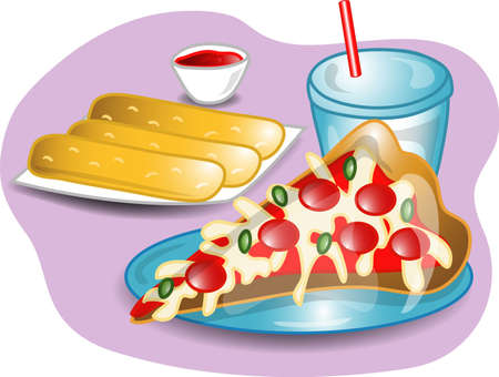 Illustration of a complete lunch with a slice of pizza, breadsticks and a drink. Part of the complete meal series.
