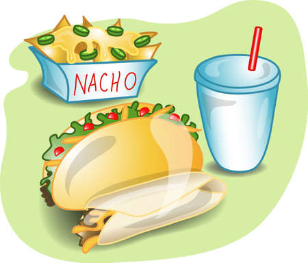 Illustration of a complete lunch with a taco, burrito,nachos, and a drink. Part of the complete meal series. Stock Photo