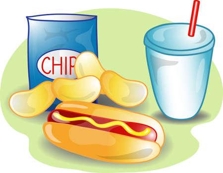 perro caliente: Ilustraci�n de una completa comida con un perro caliente, chips y una bebida. Parte de la comida completa serie.  Foto de archivo
