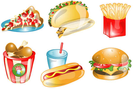 Illustrations of different fast foods icons, that can be used as a symbol, bullet, button or design element. Part of the food icon series. Stock Photo