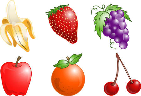 Illustrations of different fruits icons, that can be used as a symbol, bullet, button or design element. Part of the food icon series.