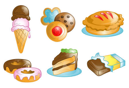Illustrations of different dessert food icons, that can be used as a symbol, bullet, button or design element. Part of the food icon series.