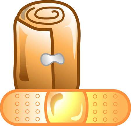 Illustration of a bandage and roll icon, that can be used as a symbol, bullet, button or design element. Imagens