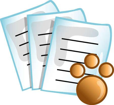 기호, 글 머리 기호, 단추 또는 디자인 요소로 사용 될 수있는 수의학 의료 논문 아이콘의 그림.