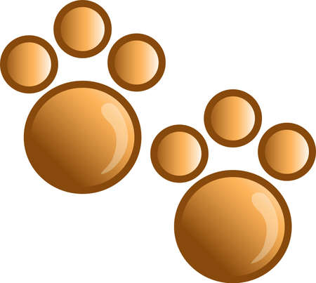 Illustration of a paw print icon, that can be used as a symbol, bullet, button or design element. illustration