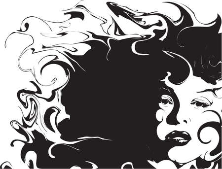 Woman and hair abstract background