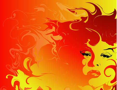 燃えるような髪を持つ女性の背景