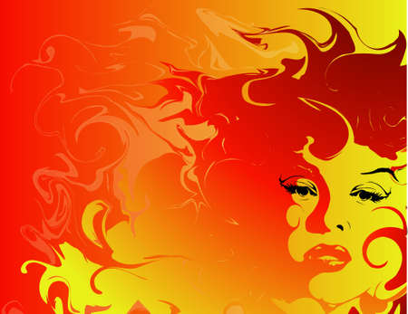 woman  shadow: Background of a woman with fiery hair Stock Photo