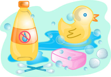 Illustrations of different  bath products.