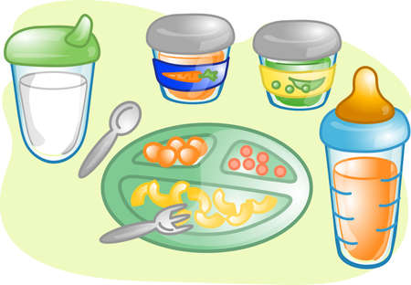 Illustrations of different  food items and products.