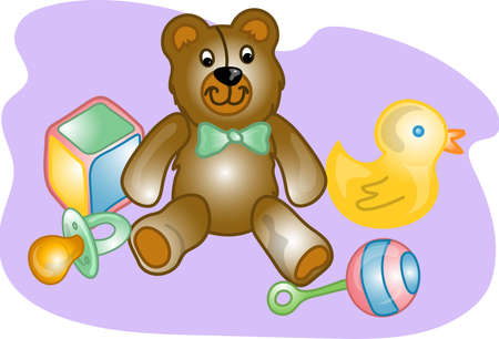 Illustrations of different  toy items and products. Stock Illustration - 2470684