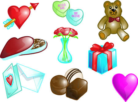 Illustrations of different valentine icons, that can be used as a symbol, bullet, button or design element. Part of the holiday icon series.