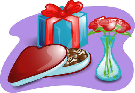 Illustrations of different valentine items and products.