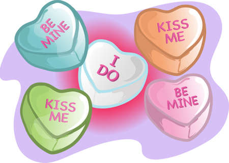 Illustrations of different valentine candy. Imagens