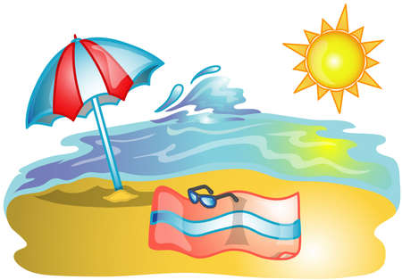 Illustration of a beach towel, and umbrella. Stock Photo