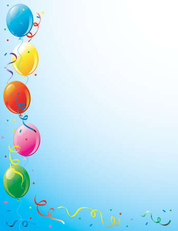 Illustration of party balloons and confetti border Stock Photo