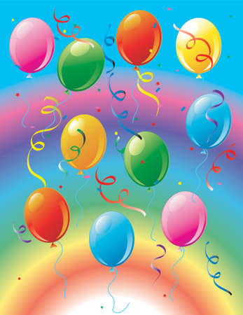 Illustration of a bunch of party balloons and confetti on a rainbow background. Stock Photo