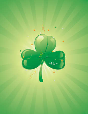 Illustration of a three leaf clover on a retro background with confetti Stock Illustration - 2666748