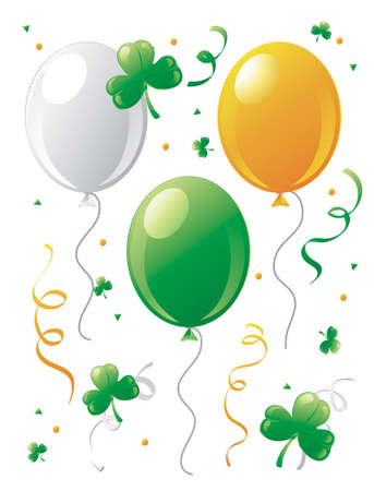 Illustration of St.Patricks Day balloons and clovers.