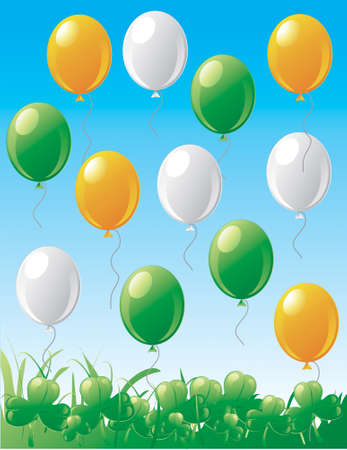 Illustration of St.Patrick's Day balloons and clovers with a blue sky Stock Illustration - 2666762
