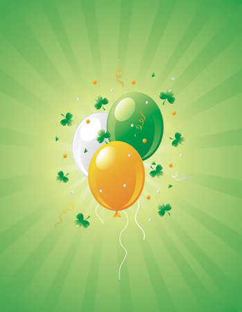Illustration of St.Patrick's Day balloons and clovers on a retro background. Stock Illustration - 2666750