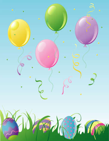 Illustration of easter balloons, confetti and easter eggs in the grass. Stock Photo