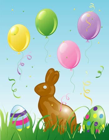 Illustration of easter balloons, confetti and a chocolate bunny in the grass. Stock Illustration - 2666772