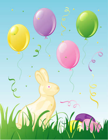 Illustration of easter balloons, confetti and a white chocolate bunny in the grass. Stock Photo