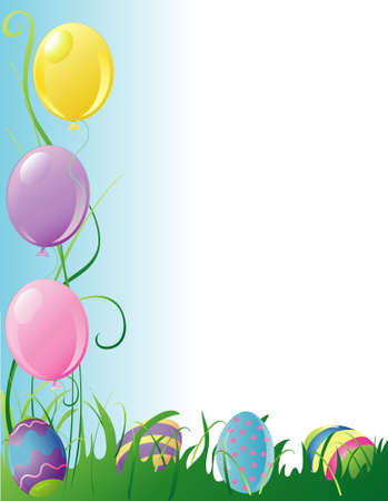 Illustration of easter party balloons and hidden eggs border Stock Illustration - 2666766