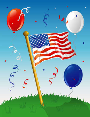 Illustration of an American flag on a lawn, with a festive background.